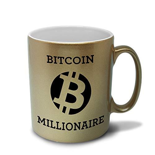 Tasse mit Spruch Bitcoin Millionaire - BTC -Goldtasse - Kaffeetasse beidseitig Bedruckt Etherum - Blockchain - ETH