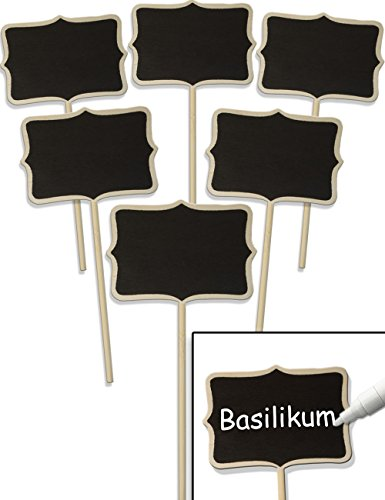 HomeTools.eu® - 6X Klassische Holz-Schilder Pflanz-Schilder, Beet Balkon Kräuter-Garten Blumen-Kübel, Landhaus, beschreibbar, 17cm, Classic, 6er Set