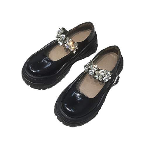 Zapatos de Vestir para Mujer, Elegantes Zapatos de Corte con Plataforma Antideslizante y Punta Redonda, Zapatos Elegantes con Hebilla de Diamantes de imitación, Zapatos Mary Jane