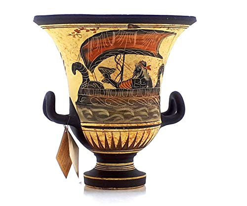greekartshop greco antico vaso Krater Pottery dea Afrodite & Dio Dioniso 17,5cm