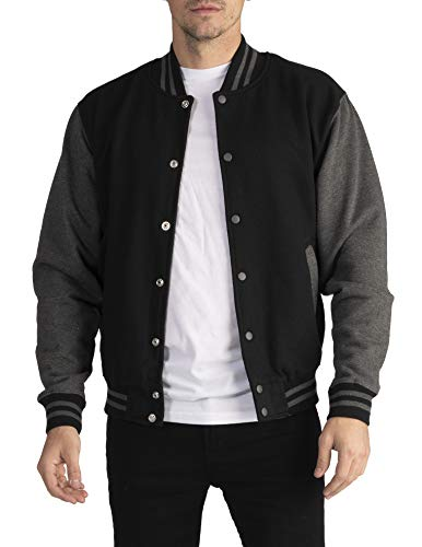 Pro Club Men's Varsity Fleece Baseball Jacket, Black/Charcoal, Large