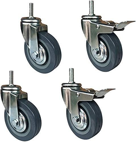 Castorhjul Heavy Duty Swivel Caster Wheels, Polyuretanmöbler Castorhjul, 4 tums 100mm Industriell vagn Caster Hjul, gängad stam Hög 30mm, Lastlager 270 kg, 4 st (Färg: Broms, Storlek: M12)