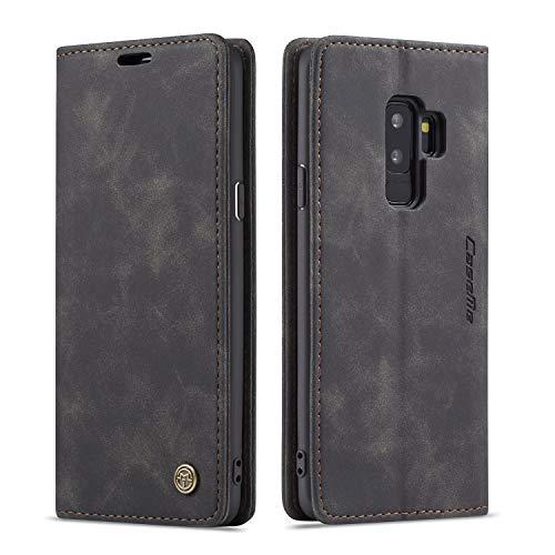 QLTYPRI Hülle für Samsung Galaxy S9 Plus, Vintage Dünne Handyhülle mit Kartenfach Geld Slot Ständer PU Ledertasche TPU Bumper Flip Schutzhülle Kompatibel mit Samsung Galaxy S9 Plus - Schwarz