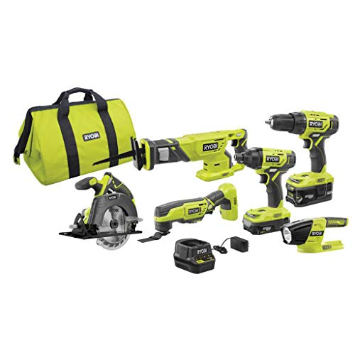 Ryobi P1819 18V One+ Lithium Ion Combo Kit (6 Tools: Drill/Driver, Impact Driver, Reciprocating Saw, Circular Saw, Multi-Tool, LED Worklight, 4.0 Ah & 1.5 Ah Battery, Charger, Bag)