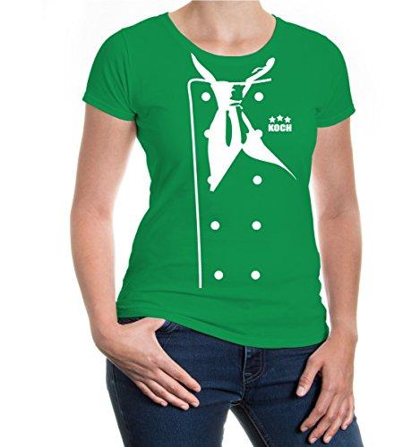 buXsbaum® Damen Girlie T-Shirt Kochjacke | Kochschürze Koch Köchin Gastronomie Küche Kostüm | XL, Grün