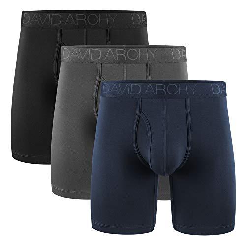 DAVID ARCHY Boxershorts Bambus Herren mit Bulge Lange Bein Unterwäsche mit Penis Loch Atmungsaktive Nahtlos Bequeme 3er Pack