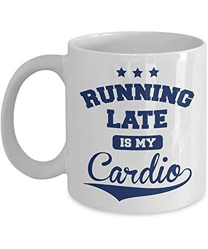 Keramische mok lopen Late is Mijn Cardio Late Comers Fitness Koffie Thee Cadeau Mok voor Fit Moeder Trainer Beste Vriend Gezondheid Bewust Mannen Vrouwen 11oz