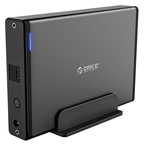 ORICO 3,5'' Externes Festplattengehäuse mit Abnehmbarem Gehäuse, USB 3.1 Gen 2 auf SATA 3.0 Adapter für SATA 3,5 Zoll HDD mit 12V 2A Netzteil (16 TB Max, Blaue Anzeige)