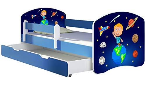 ACMA Letto per Bambino Cameretta per Bambino con Materasso Cassetto II BLU (22 Il cosmo, 180x80 + Cassetto)