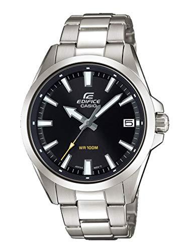 Casio EDIFICE Reloj en caja sólida, 10 BAR, Negro, para Hombre, con Correa de Acero inoxidable, EFV-100D-1AVUEF