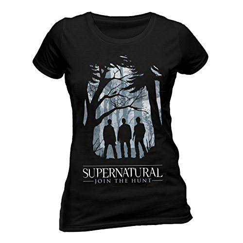 Supernatural Damen Group Outline W T-Shirt, Schwarz, Large