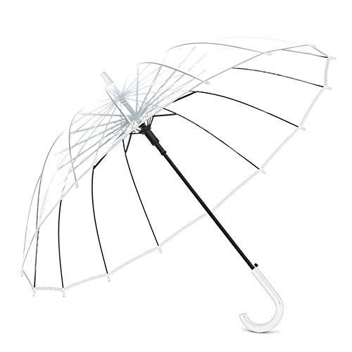 Big seller Regenschirme Transparenter Regenschirm Student Kind Langen Griff automatische Männer und Frauen (Farbe : Weiß)