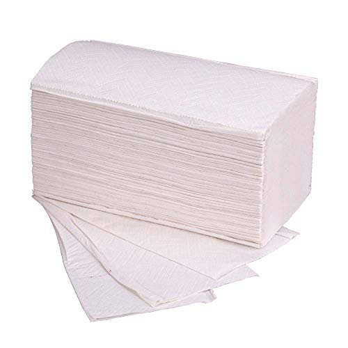 3600x Einmalhandtücher, Papier, 2-lagig, Weiß, 25 x 23 cm, ZickZack-Falzung