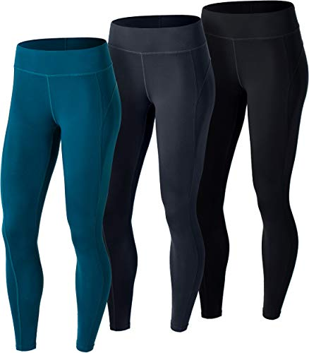 ATHLIO CLSL Women's Thermal Yoga Pants, Fleece Lined Compression Workout Leggings, Winter Athletic Running Tights, 3pack(lxp73) - Black/Charcoal/Teal, Medium