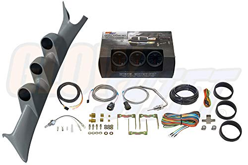 GlowShift Diesel Gauge Package for 1999-2007 Ford Super Duty F-250 F-350 6.0L 7.3L Power Stroke - Tinted 7 Color 60 PSI Boost, 1500 F Pyrometer EGT & Transmission Temp Gauges - Gray Triple Pillar Pod
