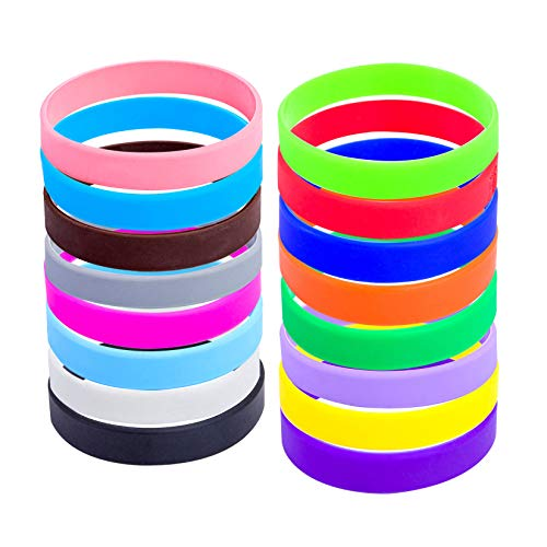 """48pcs Silicone Wristbands Rubber Bracelets for Parties, Sports and Events, Durable and Flexible Customizable (16 color mixed, Adult/8"""")"""