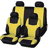 Autositzbezüge, Voll 8 Set vorne und hinten Universal-Resistant Bezüge Set, Auto-Innenraum-Zubehör Universal-Sitzbezug-Schutz (Grün),Gelb