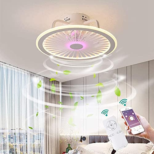 YUnZhonghe Luz del techo del ventilador LED con el ventilador de techo de iluminación Luz de ventilador invisible Moderno regulable con control remoto Ventilador de techo Lámpara de techo Habitación S