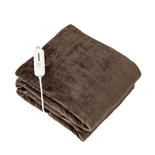 """Tefici Electric Heated Blanket Throw with 3 Heating Levels & 4 Hours Auto Off,Super Cozy Soft Heated Throw with Fast Heating and Machine Washable,Home Office Use,50"""" x 60"""" Dark Brown"""