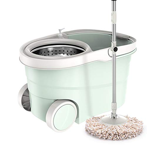 Review QYLSH Easy to Clean Double Spin Mop Bucket Set with Soap Dispenser - Stainless Steel Rotator ...