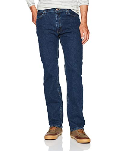 Wrangler Authentics Men's Regular Fit Comfort Flex Waist Jean, Dark Stonewash, 36W x 32L
