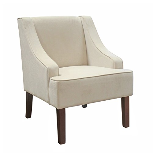 HomePop Velvet Swoop Arm Accent Chair, Cream