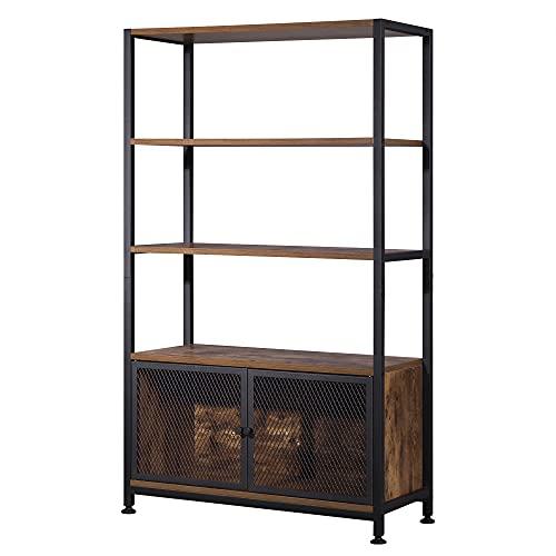 WOLTU Estantería libreria Armario Alto de Almacenamiento con 3 Estantes Estantería de Madera y Metal para Cocina Salón Estructura Patas Ajustables 70x30x121cm RGB19dc