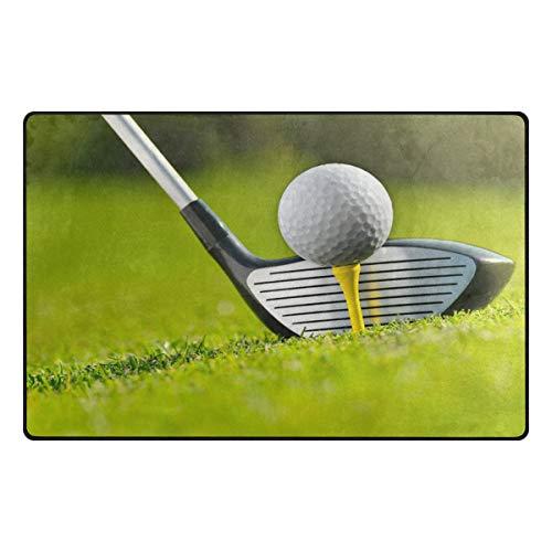 iRoad - Alfombra para sala de estar, diseño de palos de golf, resistente y duradero, no se cae, para habitación de niños, dormitorio, alfombras modernas, 78 x 50 cm, multicolor, 31x20 in