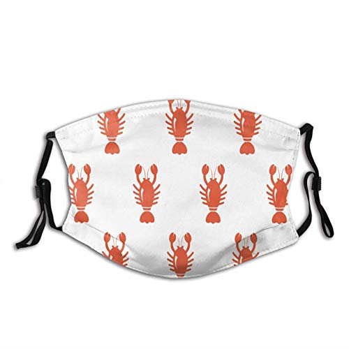 Cartoon Animal Lobster Pattern Mask Balaclava Reusable Washable Anti-Dust Mouth Bandanas with 2 Pcs Filters
