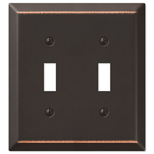 Amerelle 163TTDB Century Steel Wallplate 2 Toggle Light Switch Aged Bronze
