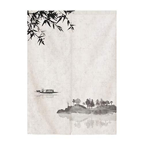 ZL Katoen Wit Deur zonwering gordijn wit en veren model bamboe Japanse Noren Curtain Wandtapijt kamerverdeler deurgordijn