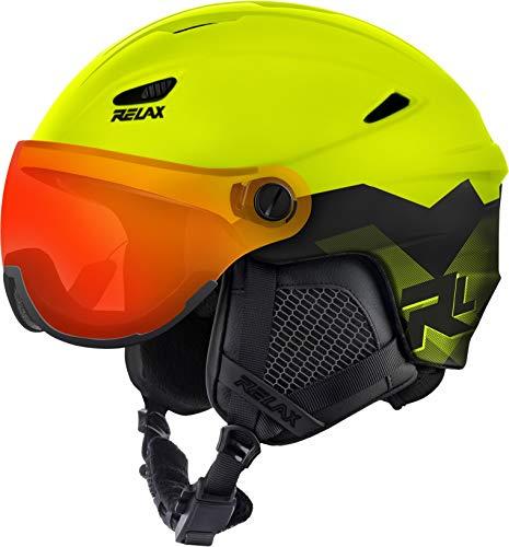 Relax Skihelm Stealth mit Visier   Snowboardhelm   Skihelmet   Race-Helm für Damen und Herren (Neongelb, L (58-60cm))