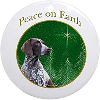 Voicpobo GSP Peace Christmas Ornaments Round Novelty Ceramic Christmas Tree Decoration Ornament Gifts for Friends,for Family