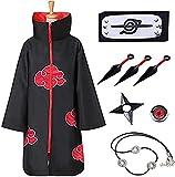 Jiuhexuj Akatsuki Cloak Naruto Cosplay Itachi Cosplay Costume Robe Capes for Adults and Kids (Small, Cloak - 8 Set)