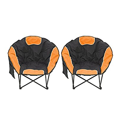 Magshion Folding Padded Round Camping Beach Chair with Storage & Carry Bag Set of 2 (Orange)