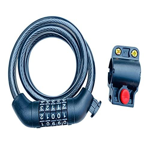 Cable de candado de bicicleta, cadena de bicicleta, candado de cable de seguridad de acero, código de 5 dígitos para bicicletas y scooters, candado de bicicleta con soporte de montaje, 1,2 mx10 mm