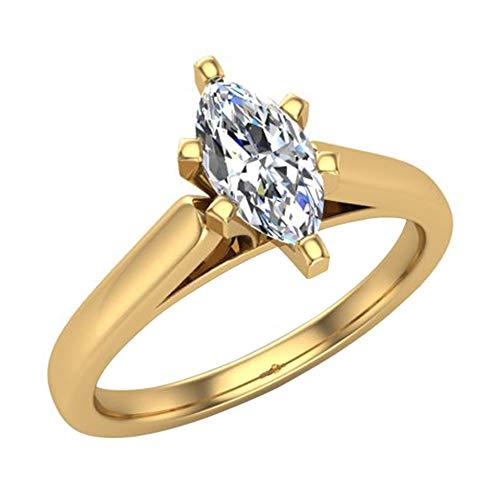 Glitz Design Damen Kinder Herren Unisex - Gold 14 Karat (585) 14 Karat (585) Gelbgold Markise G-H Diamant