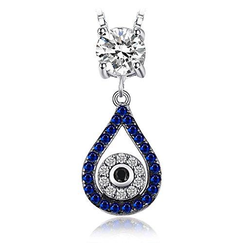 JewelryPalace 0.37ct Blaue und schwarze Spinell Anhänger Halskette 925 Sterling Silber 45 Cm