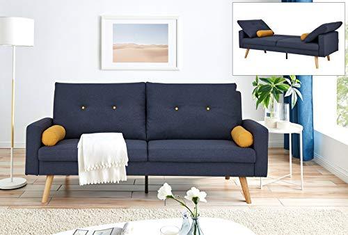 Mobilier Deco Canapé clic clac Design scandinave en Tissu Bleu Zola