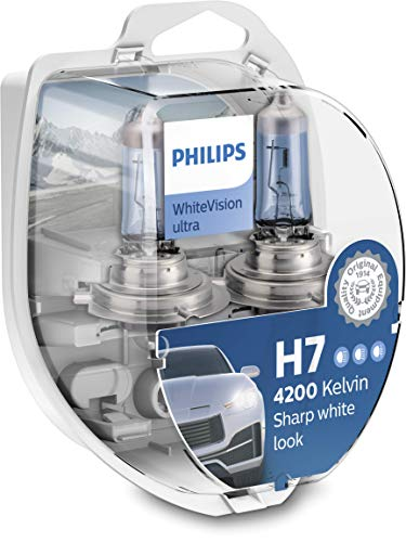 Philips 12972WVUSM WhiteVision - bombilla para faros delanteros de coches - Bombilla para coches (H7, 55 W, Halógeno, Luces largas, Luces cortas, PX26d, 4200 K, blanco intenso)
