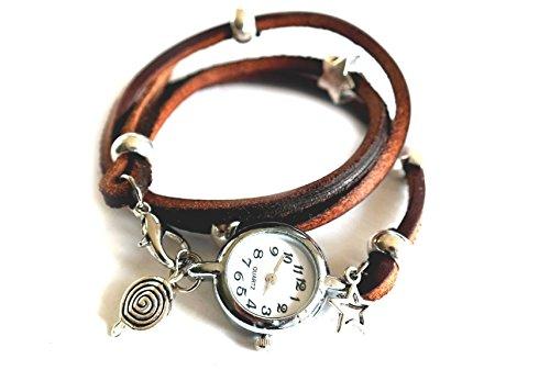 Armbanduhr als Wickeluhr, Leder mit Charms