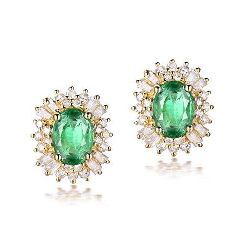 ANAZOZ Pendientes Mujer Plata Esmeralda,Pendientes Oro Amarillo 18K Mujer Oro Verde Flor con Oval Esmeralda Verde 1.5ct Diamante 0.66ct
