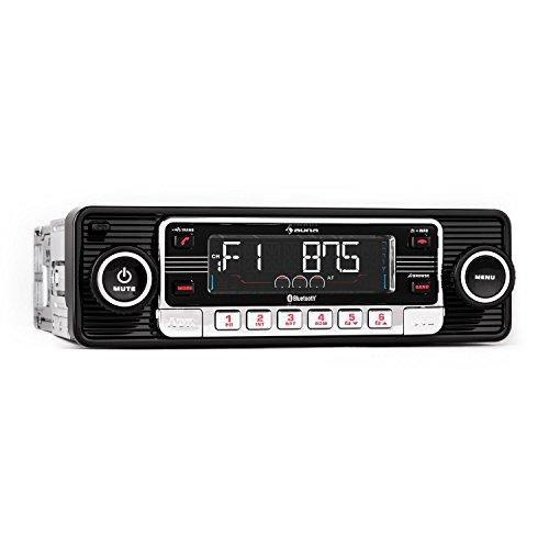 AUNA RMD-Sender-One Radio de Coche - Autorradio, Equipo Bluetooth Hi-Fi de Coche, USB, SD/MMC, Radio FM, MP3, AUX, Manos Libres, Extraíble, Vintage, Negro