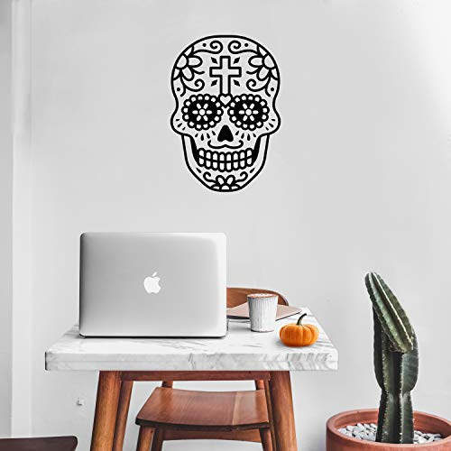 Vinyl Wall Art Decal - Day of The Dead Skull with Cross - 14' x 10' - Sugar Skull Mexican Holiday Seasonal Sticker - Teens Adults Indoor Outdoor Wall Door Living Room Office Decor (14' x 10', Black)