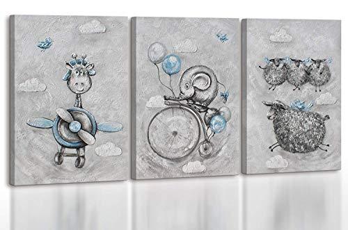 - Art Premium | Pintura acrílica de cuento de hadas | Cuadros de lienzo pintado a mano | Cuadro acrílico | Arte | Lienzo | Ejemplar único | Gris | KS 001