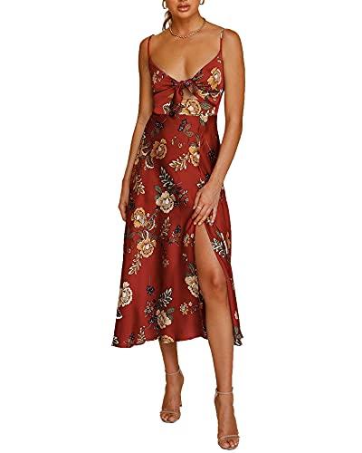 FASHIONMIA Women Spaghetti Strap Midi Long Satin Dresses Tie Front Backless Split...