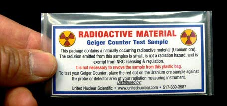 United Nuclear Geiger Counter Test Card