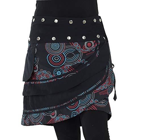 PUREWONDER Damen Wickelrock Minirock mit Tasche Rock sk181 (Schwarz 2)