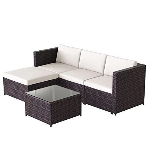 Muebles de Jardín Conjunto de jardín Poly Rattan Lounge Sofá Set Lounge Mesa con Un Sofá De Sofá De Esquina Superior De Vidrio Conjunto con Asiento Y Cubos Traseros Salón Muebles De Jardín, Marrón