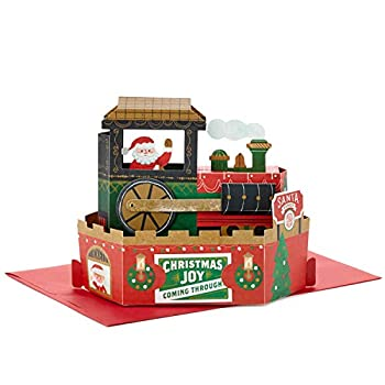 Hallmark Paper Wonder Displayable Pop Up Christmas Card with Sound and Motion  Christmas Train Plays Deck the Halls